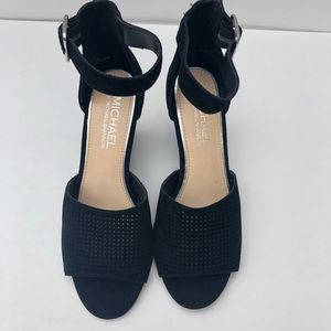 Michael Kors black wedge ankle straps sandals SZ 7